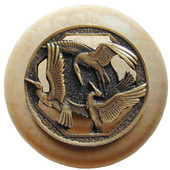 Lodge & Nature Collection 1-1/2'' Diameter Crane Dance Natural Wood Round Knob in Antique Brass, 1-1/2'' Diameter x 1-1/8'' D