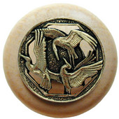 Lodge & Nature Collection 1-1/2'' Diameter Crane Dance Natural Wood Round Knob in Brite Brass, 1-1/2'' Diameter x 1-1/8'' D