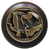 Lodge & Nature Collection 1-1/2'' Diameter Crane Dance Dark Walnut Wood Round Knob in Antique Brass, 1-1/2'' Diameter x 1-1/8'' D