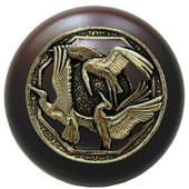 Lodge & Nature Collection 1-1/2'' Diameter Crane Dance Dark Walnut Wood Round Knob in Brite Brass, 1-1/2'' Diameter x 1-1/8'' D
