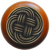 Pastimes Collection 1-1/2' Diameter Classic Weave Round Wood Cabinet Knob in Antique Brass and Cherry, 1-1/2' Diameter x 1-1/8' D