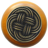 Pastimes Collection 1-1/2' Diameter Classic Weave Round Wood Cabinet Knob in Antique Brass and Maple, 1-1/2' Diameter x 1-1/8' D
