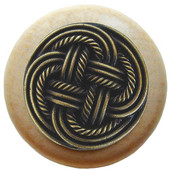 Pastimes Collection 1-1/2'' Diameter Classic Weave Round Wood Cabinet Knob in Antique Brass and Natural, 1-1/2'' Diameter x 1-1/8'' D