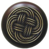 Pastimes Collection 1-1/2'' Diameter Classic Weave Round Wood Cabinet Knob in Antique Brass and Dark Walnut, 1-1/2'' Diameter x 1-1/8'' D