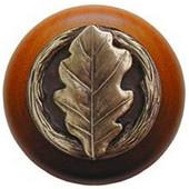 Leaves Collection 1-1/2'' Diameter Oak Leaf Cherry Wood Round Knob in Antique Brass, 1-1/2'' Diameter x 1-1/8'' D