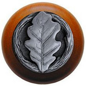 Leaves Collection 1-1/2'' Diameter Oak Leaf Cherry Wood Round Knob in Antique Pewter, 1-1/2'' Diameter x 1-1/8'' D