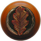 Leaves Collection 1-1/2'' Diameter Oak Leaf Cherry Wood Round Knob in Brass Hand Tinted, 1-1/2'' Diameter x 1-1/8'' D