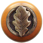 Leaves Collection 1-1/2'' Diameter Oak Leaf Maple Wood Round Knob in Antique Brass, 1-1/2'' Diameter x 1-1/8'' D