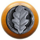 Leaves Collection 1-1/2'' Diameter Oak Leaf Maple Wood Round Knob in Antique Pewter, 1-1/2'' Diameter x 1-1/8'' D