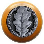 Leaves Collection 1-1/2'' Diameter Oak Leaf Maple Wood Round Knob in Antique Pewter, 1-1/2'' Diameter x 1-1/8'' D