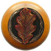Leaves Collection 1-1/2'' Diameter Oak Leaf Maple Wood Round Knob in Brass Hand Tinted, 1-1/2'' Diameter x 1-1/8'' D