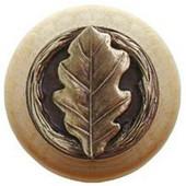 Leaves Collection 1-1/2'' Diameter Oak Leaf Natural Wood Round Knob in Antique Brass, 1-1/2'' Diameter x 1-1/8'' D