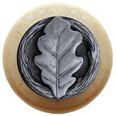Leaves Collection 1-1/2'' Diameter Oak Leaf Natural Wood Round Knob in Antique Pewter, 1-1/2'' Diameter x 1-1/8'' D