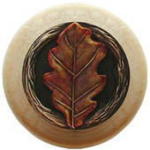 Leaves Collection 1-1/2'' Diameter Oak Leaf Natural Wood Round Knob in Brass Hand Tinted, 1-1/2'' Diameter x 1-1/8'' D
