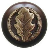 Leaves Collection 1-1/2'' Diameter Oak Leaf Dark Walnut Wood Round Knob in Antique Brass, 1-1/2'' Diameter x 1-1/8'' D