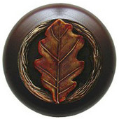 Leaves Collection 1-1/2'' Diameter Oak Leaf Dark Walnut Wood Round Knob in Brass Hand Tinted, 1-1/2'' Diameter x 1-1/8'' D