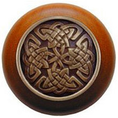 Nouveau Collection 1-1/2'' Diameter Celtic Isles Cherry Wood Round Knob in Antique Brass, 1-1/2'' Diameter x 1-1/8'' D