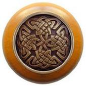 Nouveau Collection 1-1/2'' Diameter Celtic Isles Maple Wood Round Knob in Antique Brass, 1-1/2'' Diameter x 1-1/8'' D