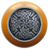 Nouveau Collection 1-1/2'' Diameter Celtic Isles Maple Wood Round Knob in Antique Pewter, 1-1/2'' Diameter x 1-1/8'' D