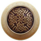 Nouveau Collection 1-1/2'' Diameter Celtic Isles Natural Wood Round Knob in Antique Brass, 1-1/2'' Diameter x 1-1/8'' D