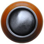 Classic Collection 1-1/2'' Diameter Plain Dome Cherry Wood Round Knob in Antique Pewter, 1-1/2'' Diameter x 1-1/8'' D
