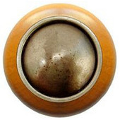 Classic Collection 1-1/2'' Diameter Plain Dome Maple Wood Round Knob in Antique Brass, 1-1/2'' Diameter x 1-1/8'' D