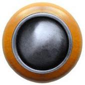 Classic Collection 1-1/2'' Diameter Plain Dome Maple Wood Round Knob in Antique Pewter, 1-1/2'' Diameter x 1-1/8'' D