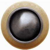 Classic Collection 1-1/2'' Diameter Plain Dome Natural Wood Round Knob in Antique Pewter, 1-1/2'' Diameter x 1-1/8'' D