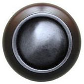 Classic Collection 1-1/2'' Diameter Plain Dome Dark Walnut Wood Round Knob in Antique Pewter, 1-1/2'' Diameter x 1-1/8'' D
