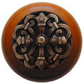 Chateau Collection 1-1/2'' Diameter Chateau Cherry Wood Round Knob in Antique Brass, 1-1/2'' Diameter x 1-1/8'' D