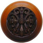 Chateau Collection 1-1/2'' Diameter Chateau Cherry Wood Round Knob in Dark Brass, 1-1/2'' Diameter x 1-1/8'' D