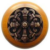 Chateau Collection 1-1/2'' Diameter Chateau Maple Wood Round Knob in Antique Brass, 1-1/2'' Diameter x 1-1/8'' D