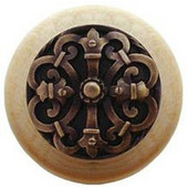 Chateau Collection 1-1/2'' Diameter Chateau Natural Wood Round Knob in Antique Brass, 1-1/2'' Diameter x 1-1/8'' D