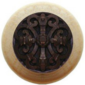 Chateau Collection 1-1/2'' Diameter Chateau Natural Wood Round Knob in Dark Brass, 1-1/2'' Diameter x 1-1/8'' D