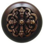 Chateau Collection 1-1/2'' Diameter Chateau Dark Walnut Wood Round Knob in Antique Brass, 1-1/2'' Diameter x 1-1/8'' D