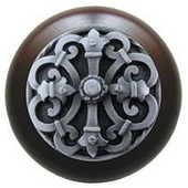 Chateau Collection 1-1/2'' Diameter Chateau Dark Walnut Wood Round Knob in Antique Pewter, 1-1/2'' Diameter x 1-1/8'' D