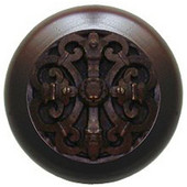 Chateau Collection 1-1/2'' Diameter Chateau Dark Walnut Wood Round Knob in Dark Brass, 1-1/2'' Diameter x 1-1/8'' D