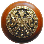 Classic Collection 1-1/2'' Diameter Regal Crest Round Wood Cabinet Knob in Antique Brass and Cherry, 1-1/2'' Diameter x 1-1/8'' D