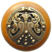 Classic Collection 1-1/2'' Diameter Regal Crest Round Wood Cabinet Knob in Antique Brass and Maple, 1-1/2'' Diameter x 1-1/8'' D