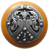 Classic Collection 1-1/2'' Diameter Regal Crest Round Wood Cabinet Knob in Antique Pewter and Maple, 1-1/2'' Diameter x 1-1/8'' D