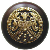 Classic Collection 1-1/2'' Diameter Regal Crest Round Wood Cabinet Knob in Antique Brass and Dark Walnut, 1-1/2'' Diameter x 1-1/8'' D