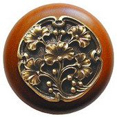 Florals & Leaves Collection 1-1/2'' Diameter Ginkgo Berry Round Wood Cabinet Knob in Antique Brass and Cherry, 1-1/2'' Diameter x 1-1/8'' D