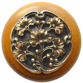 Florals & Leaves Collection 1-1/2'' Diameter Ginkgo Berry Round Wood Cabinet Knob in Antique Brass and Maple, 1-1/2'' Diameter x 1-1/8'' D