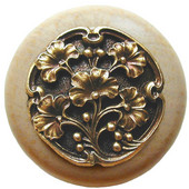 Florals & Leaves Collection 1-1/2'' Diameter Ginkgo Berry Round Wood Cabinet Knob in Antique Brass and Natural, 1-1/2'' Diameter x 1-1/8'' D
