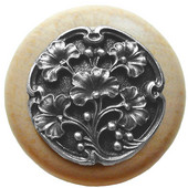 Florals & Leaves Collection 1-1/2'' Diameter Ginkgo Berry Round Wood Cabinet Knob in Antique Pewter and Natural, 1-1/2'' Diameter x 1-1/8'' D