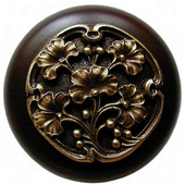 Florals & Leaves Collection 1-1/2'' Diameter Ginkgo Berry Round Wood Cabinet Knob in Antique Brass and Dark Walnut, 1-1/2'' Diameter x 1-1/8'' D