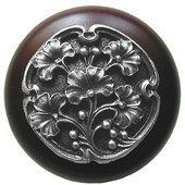 Florals & Leaves Collection 1-1/2'' Diameter Ginkgo Berry Round Wood Cabinet Knob in Antique Pewter and Dark Walnut, 1-1/2'' Diameter x 1-1/8'' D