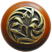 Florals & Leaves Collection 1-1/2'' Diameter Tiger Lily Round Wood Cabinet Knob in Antique Brass and Cherry, 1-1/2'' Diameter x 1-1/8'' D