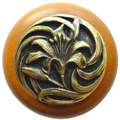 Florals & Leaves Collection 1-1/2'' Diameter Tiger Lily Round Wood Cabinet Knob in Antique Brass and Maple, 1-1/2'' Diameter x 1-1/8'' D