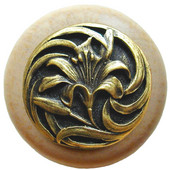 Florals & Leaves Collection 1-1/2'' Diameter Tiger Lily Round Wood Cabinet Knob in Antique Brass and Natural, 1-1/2'' Diameter x 1-1/8'' D